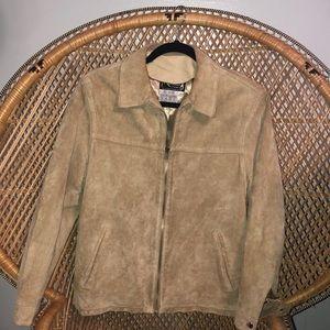 Vintage genuine tan suede leather jacket, medium